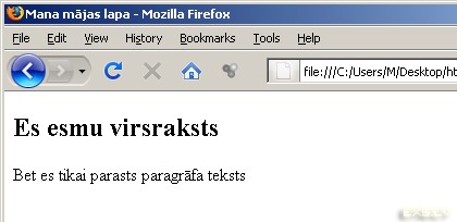 HTML tagu piemērs - Es esmu virsraksts