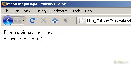 HTML br taga piemērs