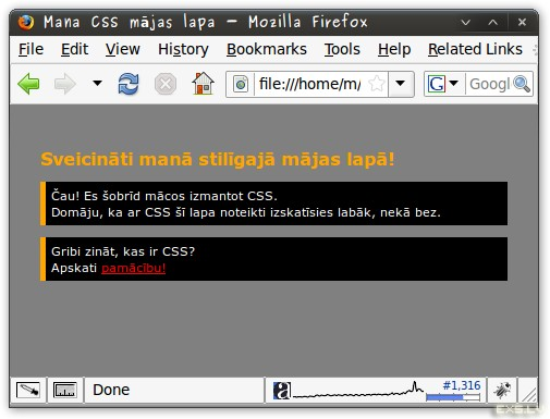 CSS paraugs - rezultāts