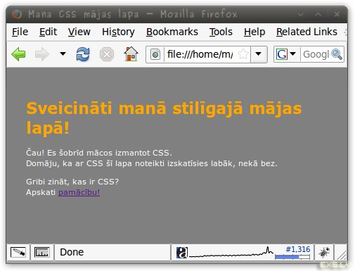 CSS paraugs ar oranžu virsrakstu
